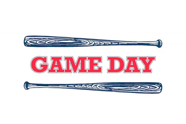 Dag van de wedstrijd. schets van honkbalknuppel met typografie