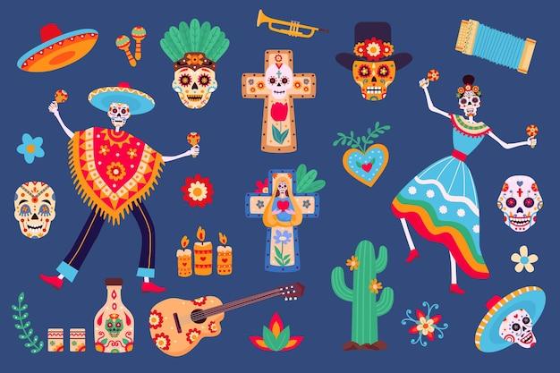 Dag van dode elementen. skeletkarakters in mexicaanse kleding, suikerschedel, sombrero, cactus en tequila. dia de los muertos partij vector set