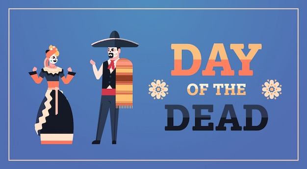 Dag van dode traditionele mexicaanse halloween banner