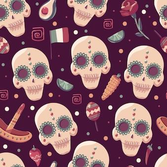 Dag van dode vector cartoon naadloze patroon. achtergrond voor behang, verpakking, verpakking en achtergrond.