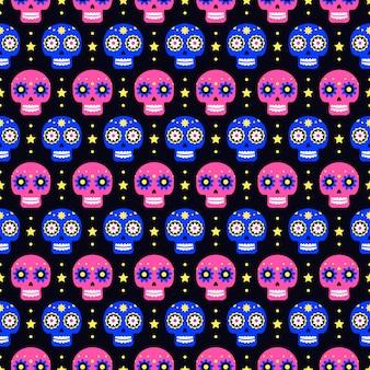 Dag van het dode naadloze patroon met kleurrijke schedels op donker