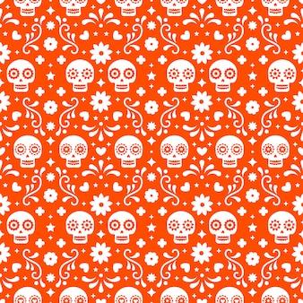 Dag van het dode naadloze patroon met schedels en bloemen