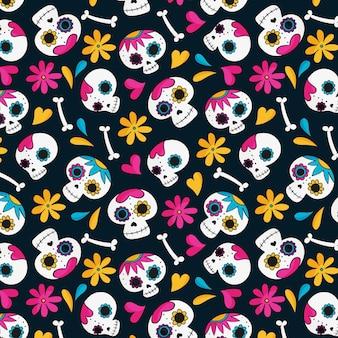 Dag van het dode patroon hand getrokken ontwerp