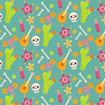 Dag van het dode patroon met botten