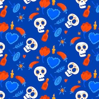 Dag van het dode patroon met schedels