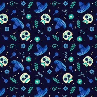 Dag van het dode patroon plat ontwerp