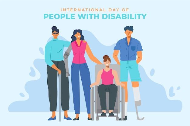 Dag van mensen met een handicap plat ontwerp