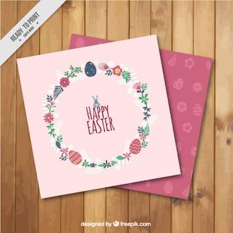 Dag van pasen roze kaart