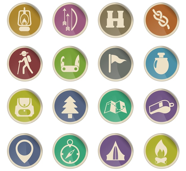 Dag van verkenners vector iconen in de vorm van ronde papieren etiketten
