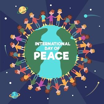 Dag van vrede met mensen die hand in hand rond de wereld