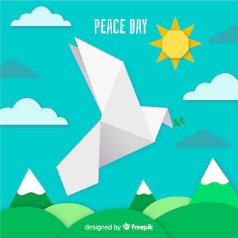 Dag van vredessamenstelling met origami witte duif