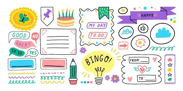 Dagboek dagboek school cartoon bullet stickers memo stickers