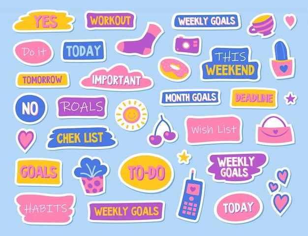 Dagboek en planner platte stickers set Gratis Vector