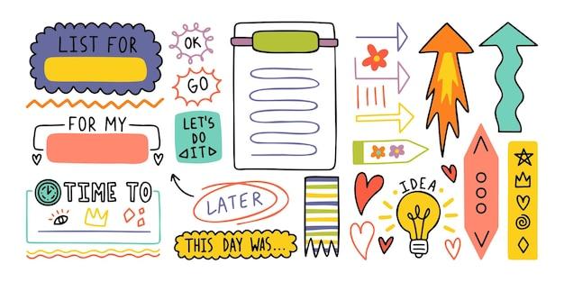 Dagboek schattige notitie-elementen. hand getrokken doodles bullet journal banners