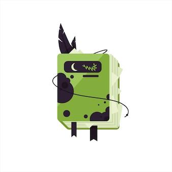 Dagboek van een heks. boek met spreuken, drankjes, gif. groen boek voor halloween. 31 oktober. boekpictogram voor videogames. oud boek uit de middeleeuwen