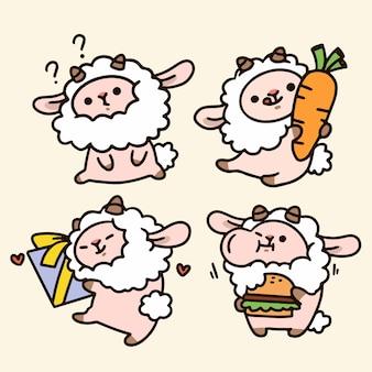 Dagelijks leven van schattige kleine schapen karakter doodle