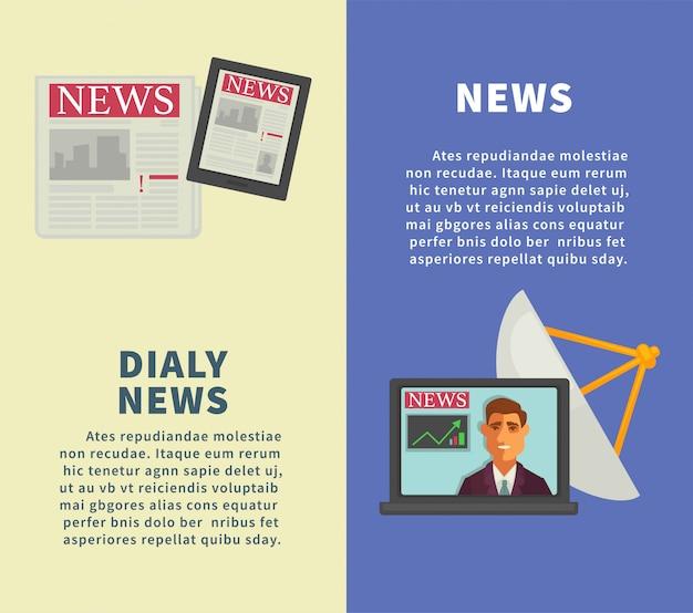Dagelijks nieuws met verticale promotionele posters met moderne technologieën