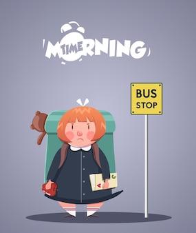 Dagelijks ochtendleven. boos meisje dat op schoolbus wacht. vector illustratie