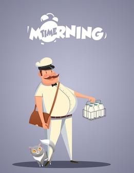 Dagelijks ochtendleven. melkboer en kat. vector illustratie
