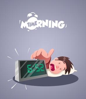 Dagelijks ochtendleven. wekker in de vroege ochtend. vector illustratie