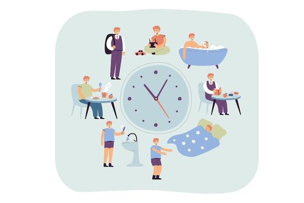 Dagelijks schema van schoolkinderen volgens klok. jongen slapen, een bad nemen, ontbijten of dineren, naar school lopen