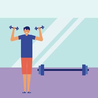 Dagelijkse activiteit man oefening training doet