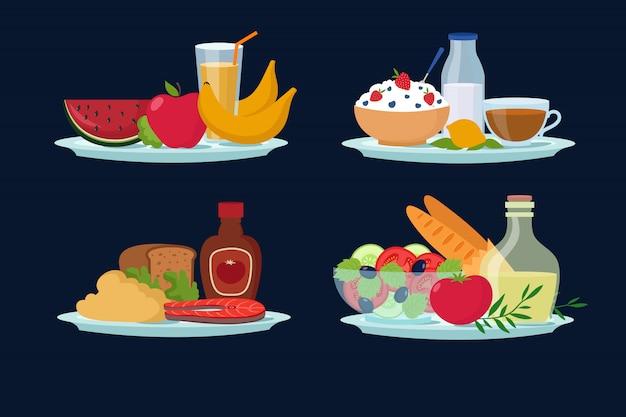 Dagelijkse dieetmaaltijden, gezonde voeding voor ontbijt, lunch, cartoon diner