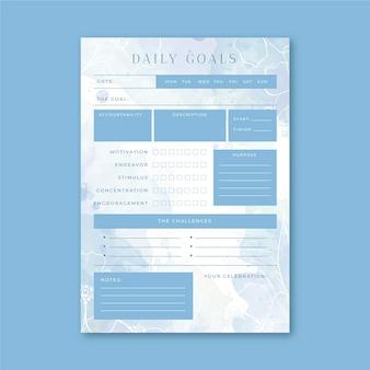 Dagelijkse doelen planner sjabloon