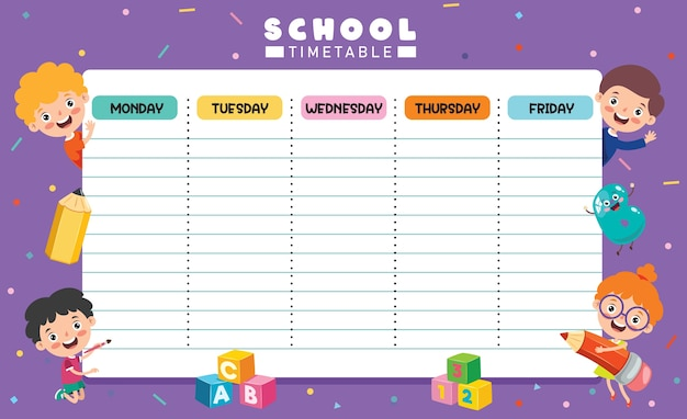 Dagelijkse en wekelijkse planner voor kinderen
