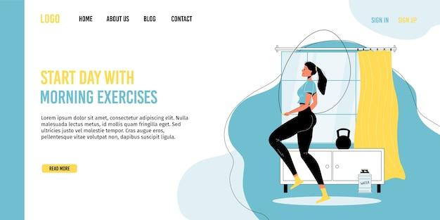 Dagelijkse fitnessgymnastiek thuis, promotie van een gezonde levensstijl. elke ochtend routine activiteitstraining. vrouw karakter springtouw doen warming-up cardio-oefening. bestemmingspagina