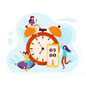 Dagelijkse ochtendmens stijgt onder de wekker aan de telefoon. opladen op het kussen en vrolijke sfeerfiguren in platte stijl. vector illustratie.