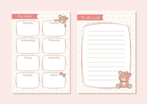 Dagelijkse planner cute she-bear