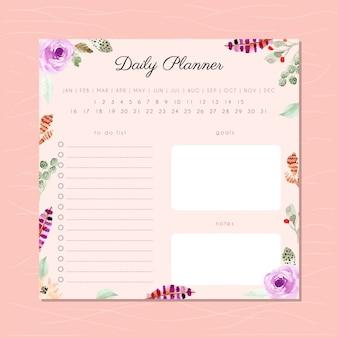 Dagelijkse planner met bloemen aquarel frame