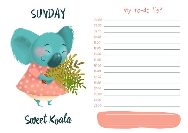 Dagelijkse planner met illustratie van schattige cartoon zoete koala. mijn dag to-do lijst op zondag