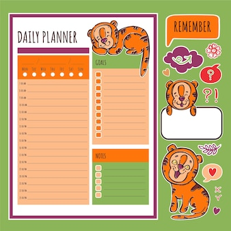 Dagelijkse planner met tiger stickers afdrukbare paginasjabloon schema en collectie