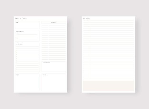 Dagelijkse planner-sjabloon set van planner en takenlijst moderne planner-sjabloonset