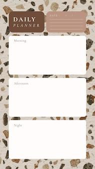 Dagelijkse planner sjabloon, terrazzo achtergrond, esthetische social media post, vector