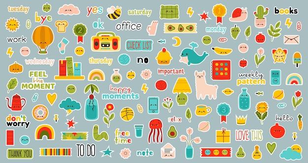 Dagelijkse planner stickers. wekelijkse bullet journal stickers, handgetekende schattige dagelijkse planner set