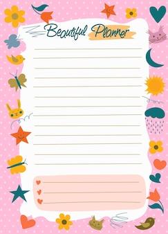 Dagelijkse planner, takenlijst, notitiepapier, stickerssjablonen, schattige schoonheidsplanner of organisator, hart en ster in eenvoudige tekenfilmstijl voor kinderen. vector
