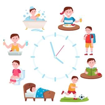 Dagelijkse routeklokken voor kinderen
