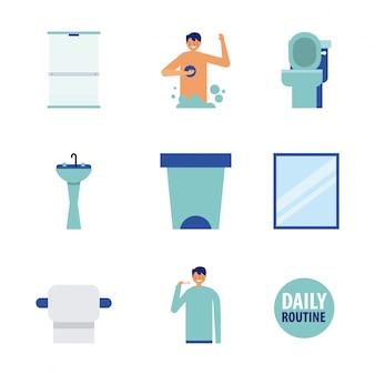 Dagelijkse routine en badkamer pictogrammen, vlakke stijl