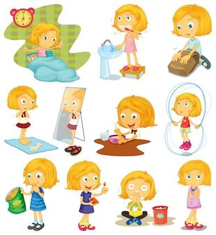 Dagelijkse routine van een meisjes illustratie