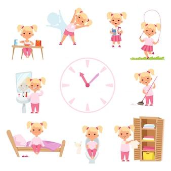 Dagelijkse routine van kinderen. mannelijke en vrouwelijke kinderen in actie vormt