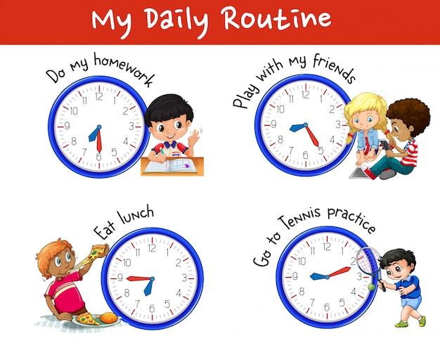 Dagelijkse routine van veel kinderen met klokken