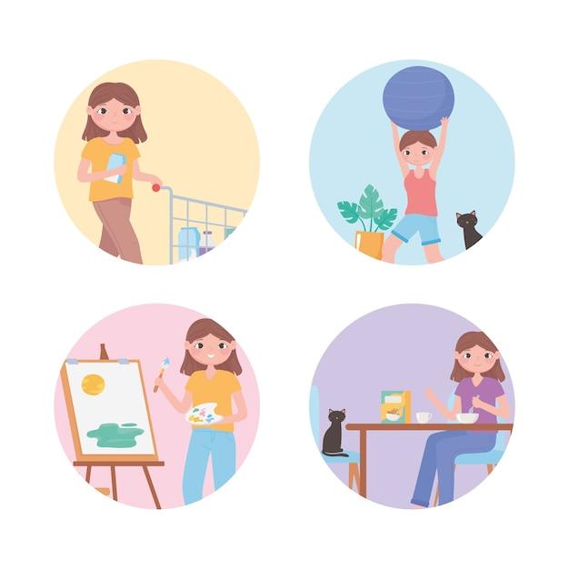 Dagelijkse routine, wakker worden, tanden poetsen, een bad nemen en meer illustraties