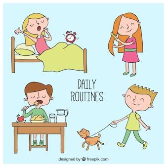 Dagelijkse routines tekeningen