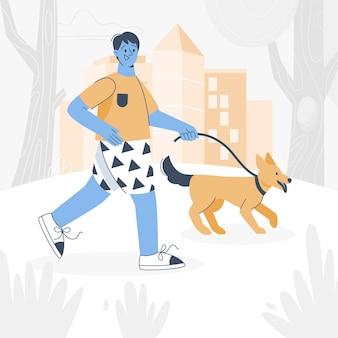Dagelijkse scène met geïllustreerde huisdieren