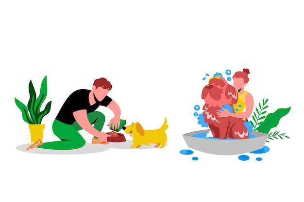 Dagelijkse scène met huisdierenconcept