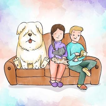 Dagelijkse scènes met huisdieren en een stel
