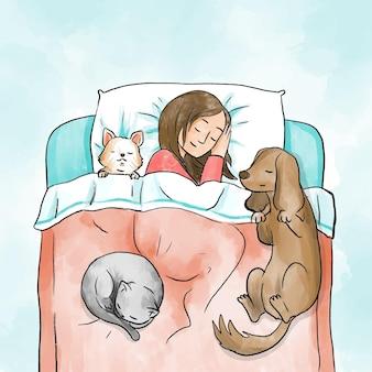Dagelijkse scènes met huisdieren en eigenaar